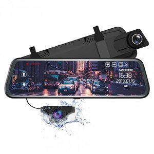 "AZDOME 10"" Mirror Touch Screen Dash Cam HD 1080P Front & Rear Camera"