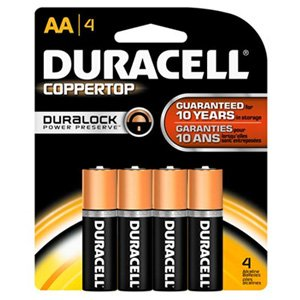 Duracell Coppertop AA Alkaline Battery x 4