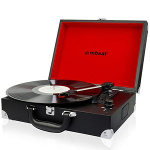 mBeat Retro Briefcase USB Turntable Record Player w/ Speaker